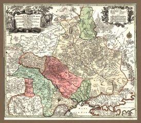 Старинная карта Украины с Киевским и Брацлавским воеводствами
